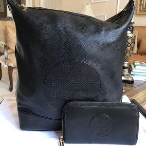 TORY BURCH Kipp Hobo BLACK Leather SHOULDERBAG Set